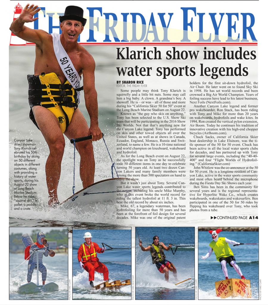 tony klarich front page friday flyer 50 for 50 water skiing