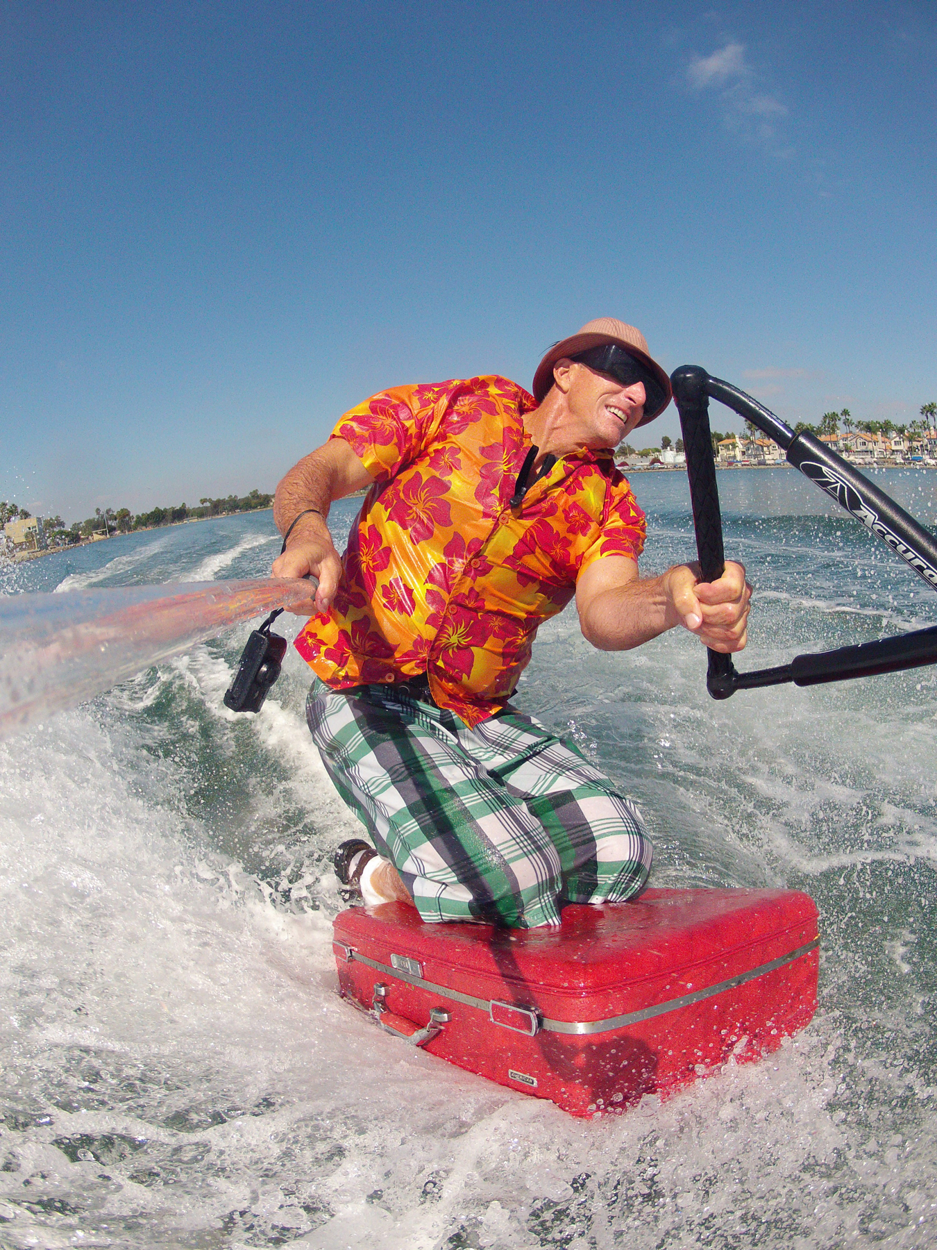 tony klarich suitcase water skiing tourist funny go pro